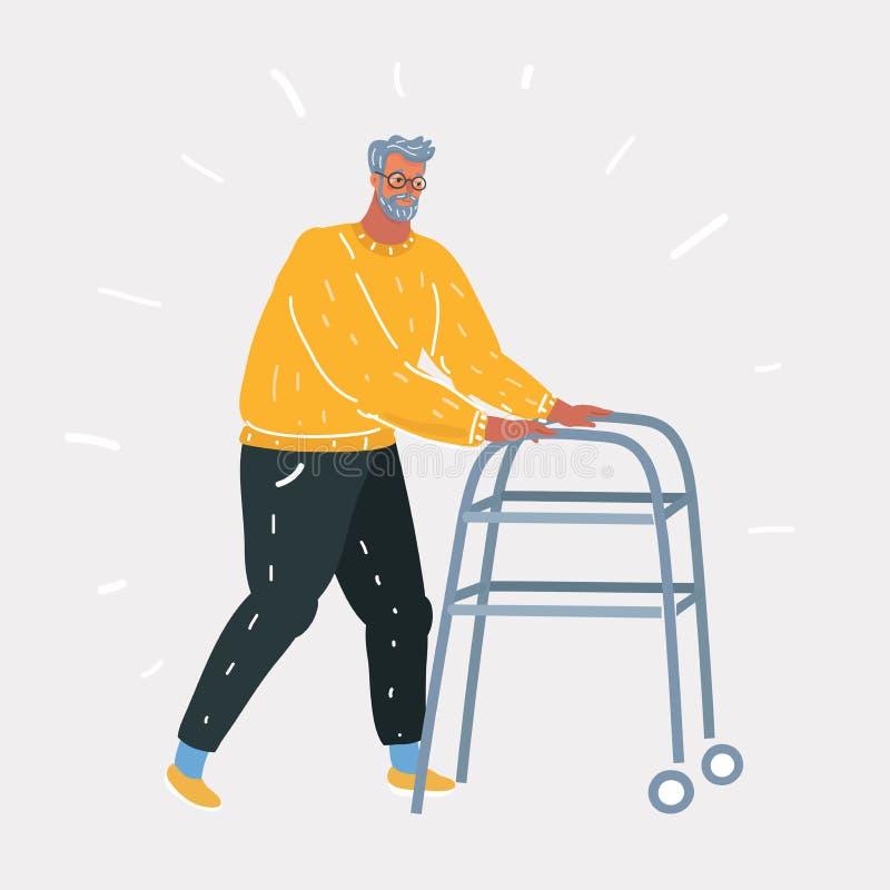 Retrato integral de un mayor feliz que usa a un caminante aislado en el fondo blanco ilustración del vector