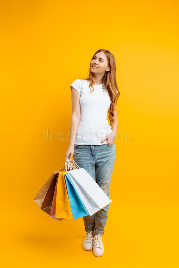 Retrato integral de una mujer hermosa joven, con los bolsos multicolores, en un fondo amarillo imagen de archivo
