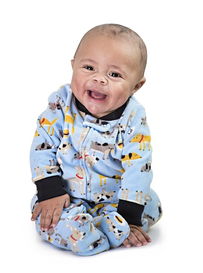 Retrato integral del bebé negro sonriente foto de archivo libre de regalías