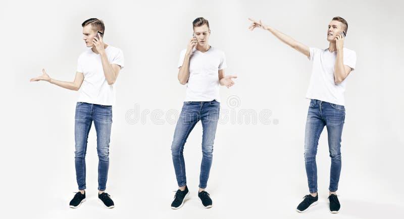 Retrato integral del hombre de negocios joven hermoso en diversas actitudes aislado en el fondo blanco, usando el teléfono móvil, imágenes de archivo libres de regalías