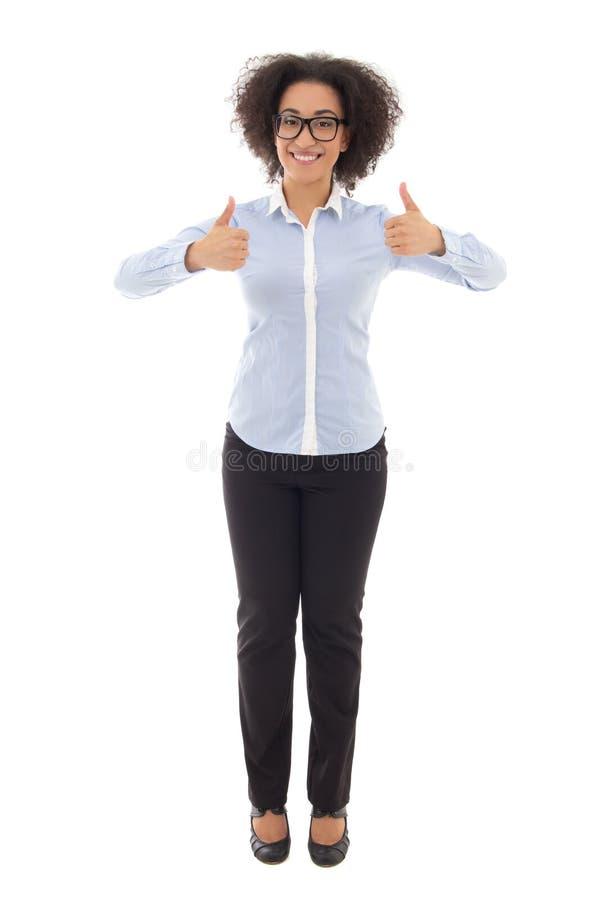 Retrato integral del th afroamericano feliz de la mujer de negocios imágenes de archivo libres de regalías