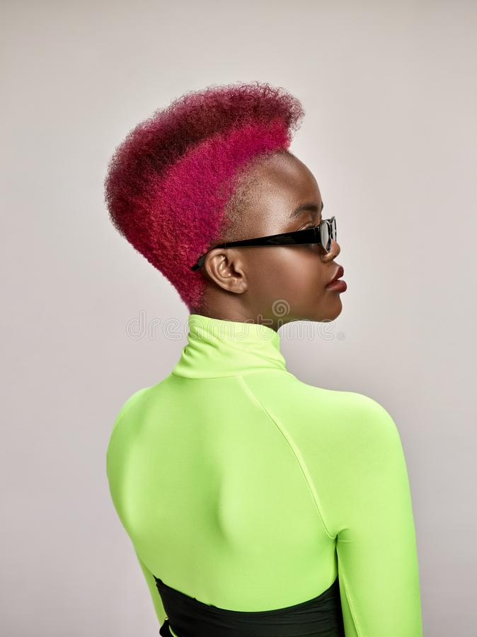Retrato interior del primer de la muchacha preciosa con el pelo colorido El estudio tiró de mujer joven agraciada con corte de pe foto de archivo libre de regalías
