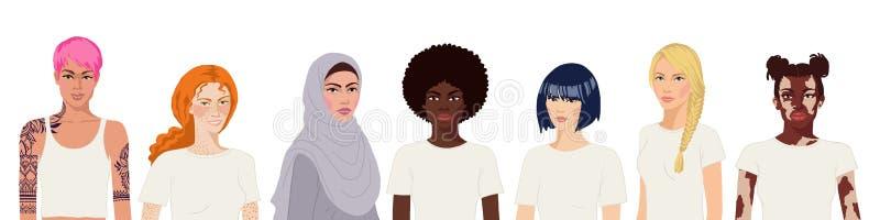 Retrato internacional de mujeres de origen blanco y realista ilustración del vector