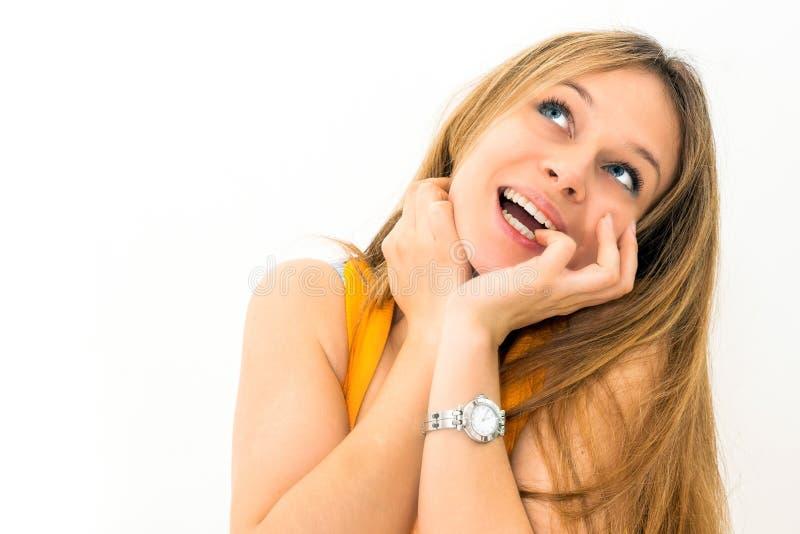 retrato interno de uma mulher de pensamento fotos de stock royalty free