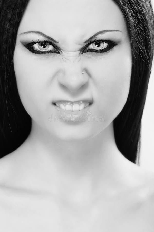 Retrato irritado da mulher foto de stock