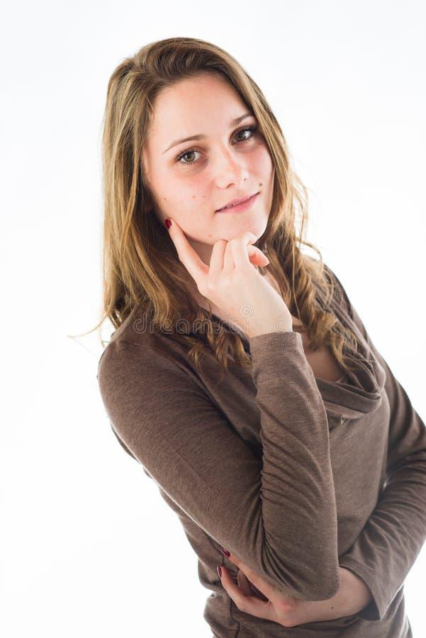 Retrato isolado da jovem mulher alegre imagem de stock royalty free
