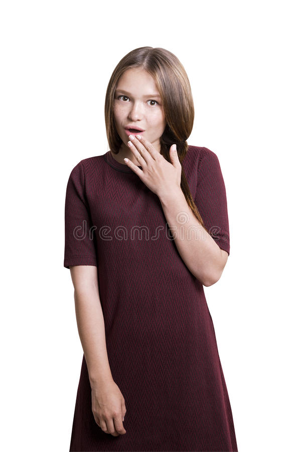 Retrato isolado da menina surpreendida fotografia de stock royalty free