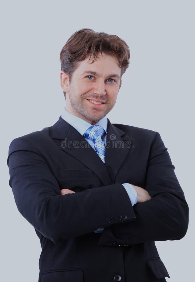 Retrato isolado de um homem de negócios do alto executivo Alegre e em um terno fotos de stock royalty free