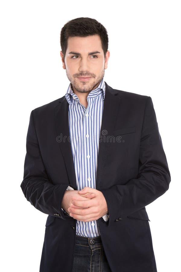Retrato isolado do homem de negócio considerável sério no branco. imagem de stock