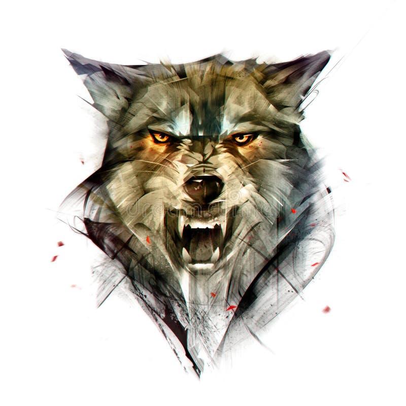 Retrato isolado tirado da cor de um animal do lobo ilustração do vetor