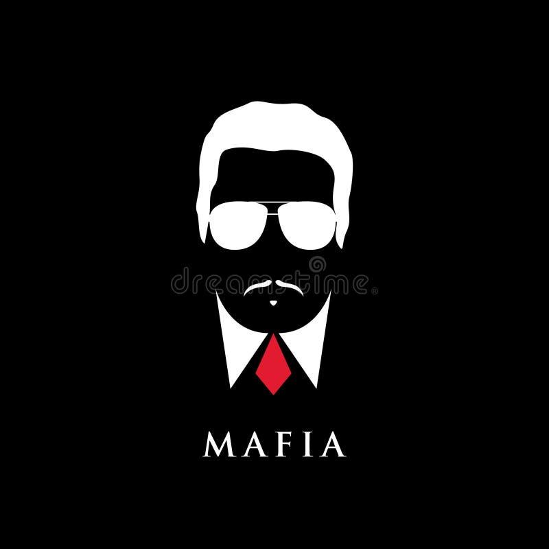 Retrato italiano del mafioso Hombre con el bigote y las gafas de sol libre illustration