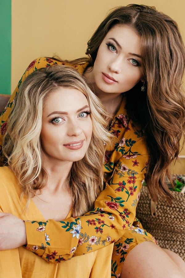 Retrato joven hermoso de dos hermanas gemelas foto de archivo libre de regalías