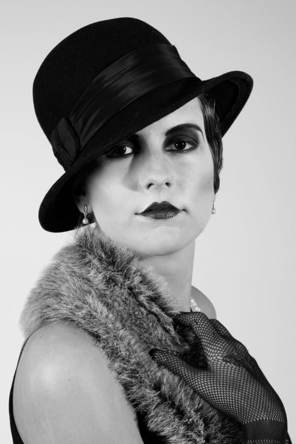 Retrato labrado retro de una mujer joven fotografía de archivo libre de regalías