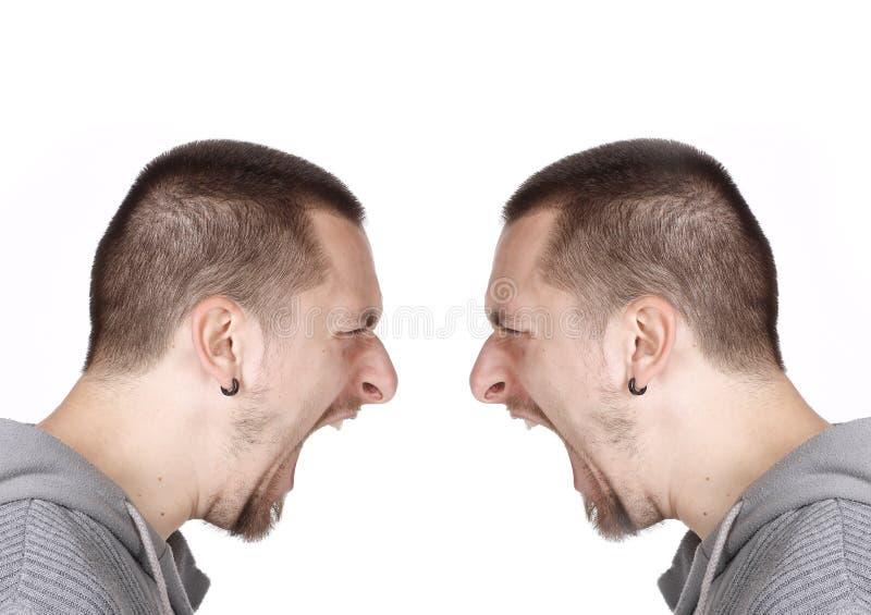 Download Retrato Lateral De Un Hombre De Grito Imagen de archivo - Imagen de blanco, frustración: 41904505