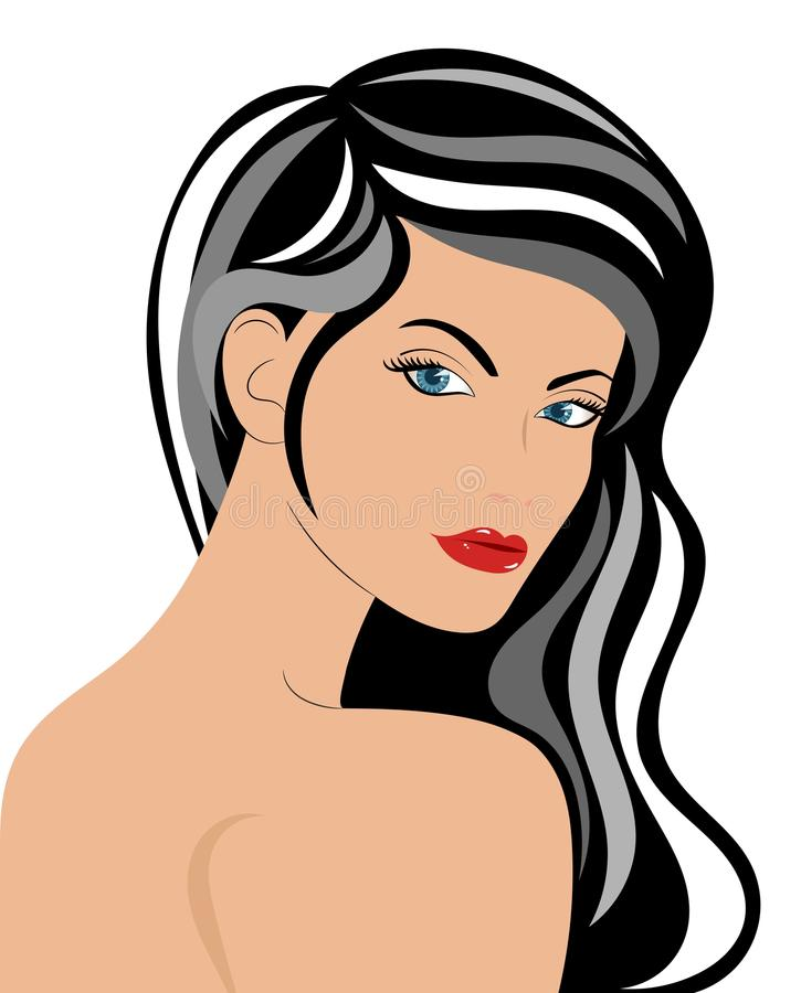 Retrato levantado da mulher ilustração royalty free