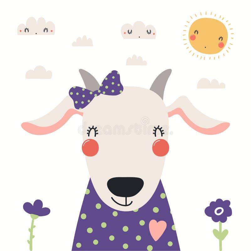 Retrato lindo de la cabra ilustración del vector