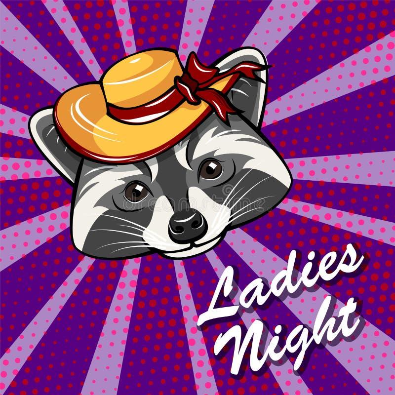 Retrato lindo de la muchacha del mapache con el sombrero de ala ancha Insignia de la noche de Ladie s Vector libre illustration