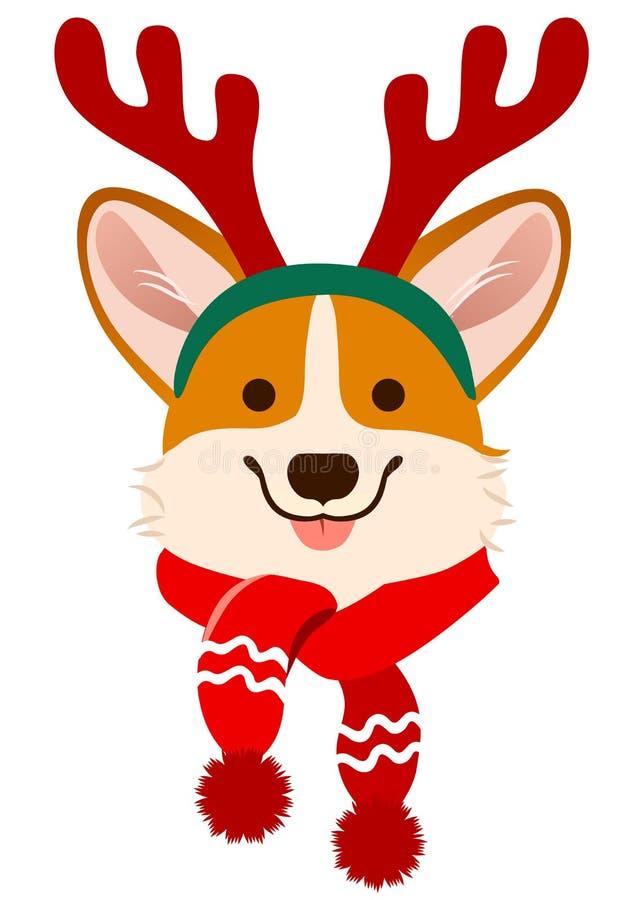 Retrato lindo del vector de la historieta del perro del Corgi de la Navidad Pembroke Welsh libre illustration