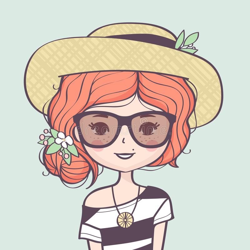 Retrato lindo hermoso de la muchacha del verano con el sombrero de paja ilustración del vector