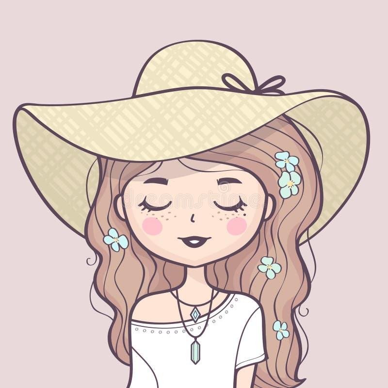 Retrato lindo hermoso de la muchacha del verano en un sombrero de paja ilustración del vector