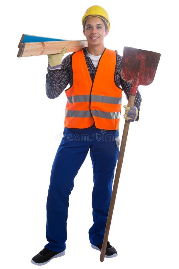 Retrato lleno del cuerpo de construcción del trabajo joven del trabajador aislado imagen de archivo