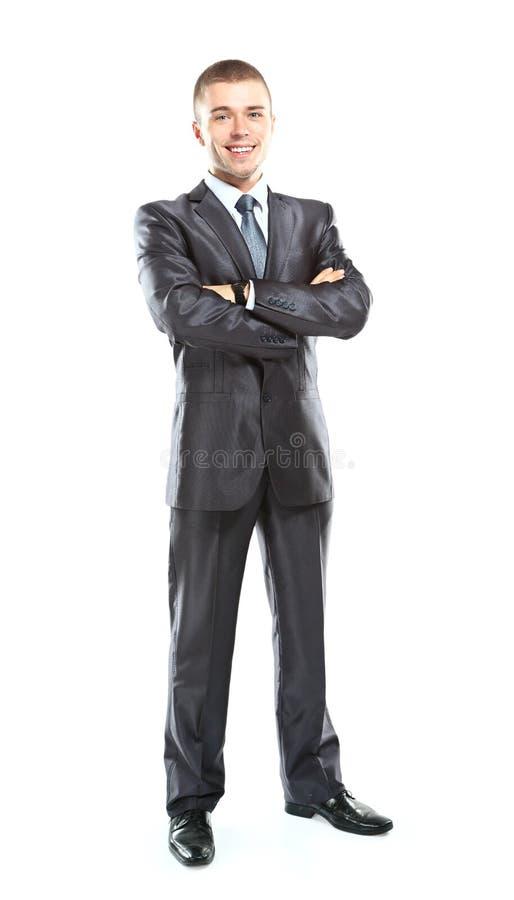 Retrato lleno del cuerpo del hombre de negocios alegre sonriente feliz joven imagen de archivo