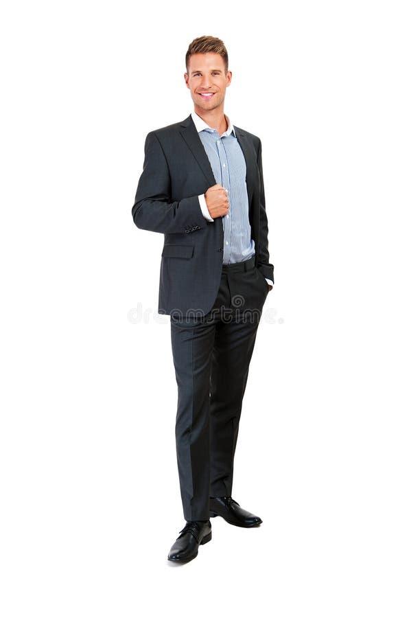 Retrato lleno del cuerpo del hombre de negocios sonriente feliz foto de archivo