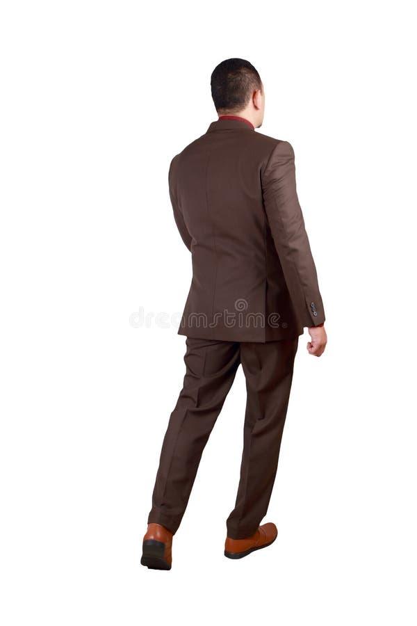Retrato lleno del cuerpo del hombre de negocios asiático Walking, vista posterior imagen de archivo