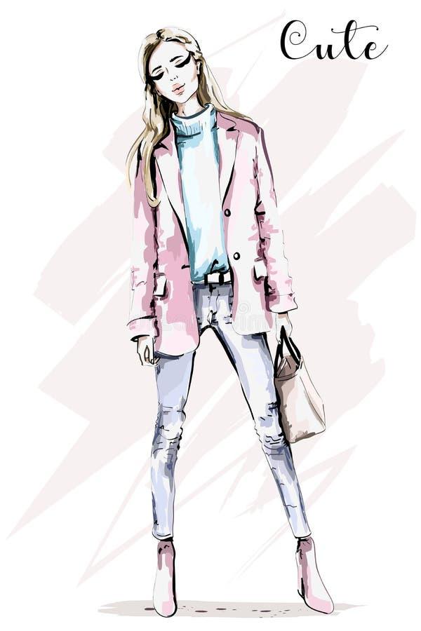Retrato lleno dibujado mano de la mujer del cuerpo Chica joven hermosa con el bolso Mujer de la manera libre illustration