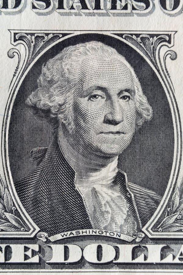 Retrato macro do primeiro presidente George Washington dos EUA em uma nota de dólar imagem de stock