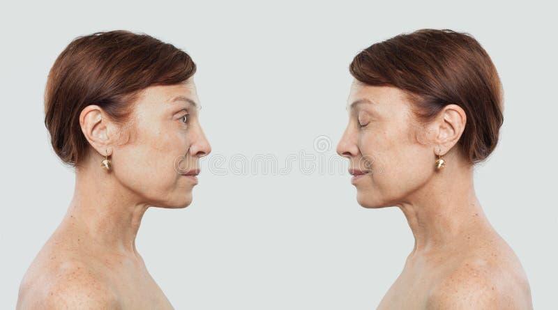 Retrato maduro da mulher Duas caras, perfil fotos de stock royalty free