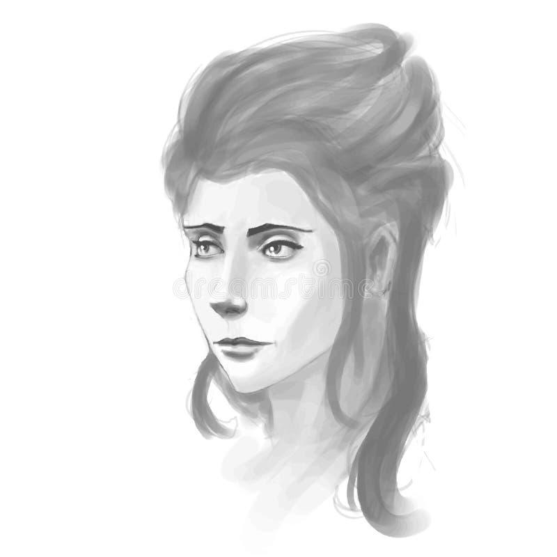 Download Retrato A Mano De La Mujer Imitación Del Bosquejo De Pancil Ilustración del Vector - Ilustración de enrollamiento, ojos: 42433591