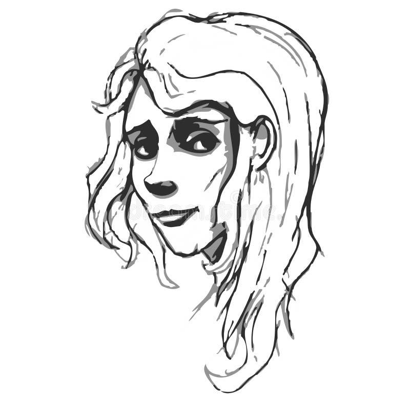 Download Retrato A Mano De La Mujer Imitación Del Bosquejo De Pancil Ilustración del Vector - Ilustración de ojos, retrato: 42433593