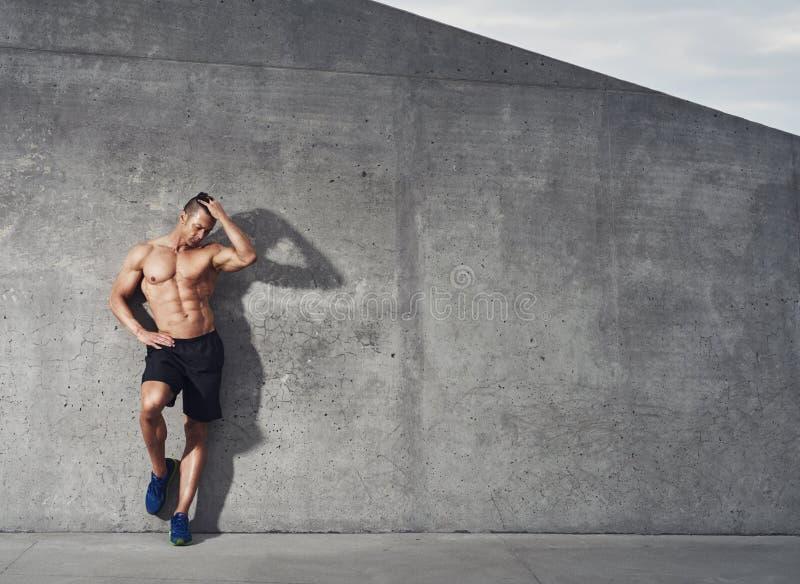 Retrato masculino apto y sano del modelo de la aptitud fotografía de archivo