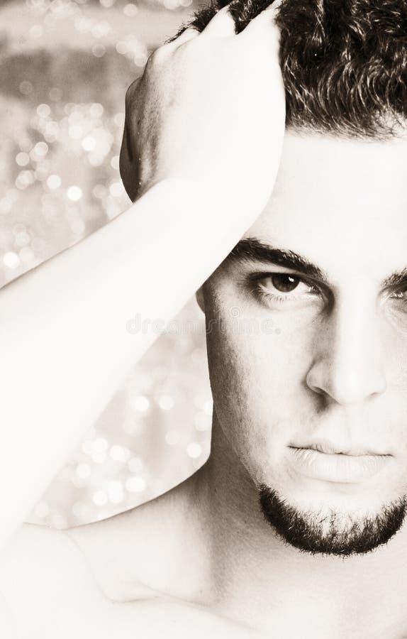 Retrato masculino chave elevado foto de stock
