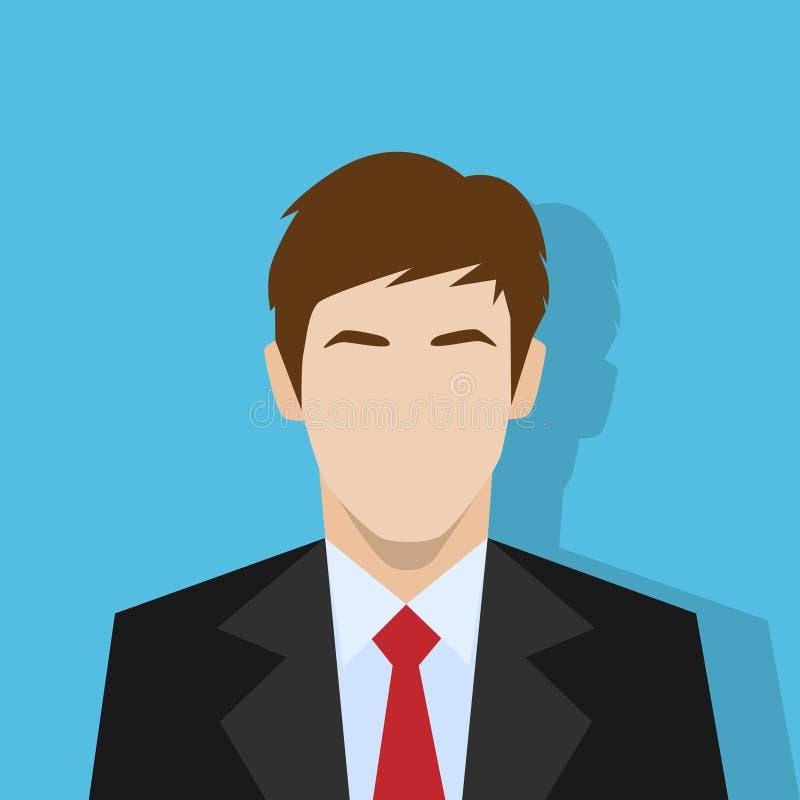 Retrato masculino do ícone do perfil do homem de negócios liso ilustração royalty free