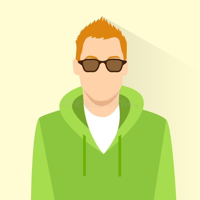 Retrato masculino do avatar dos vidros do desgaste do ícone do perfil ilustração do vetor