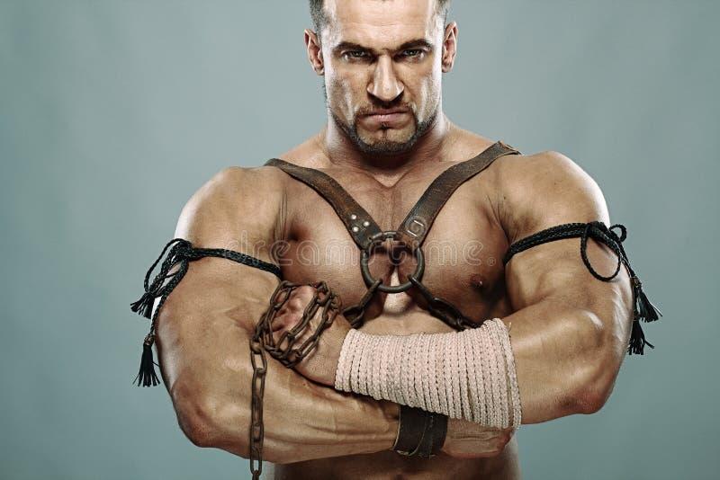 Retrato masculino muscular do guerreiro antigo imagens de stock