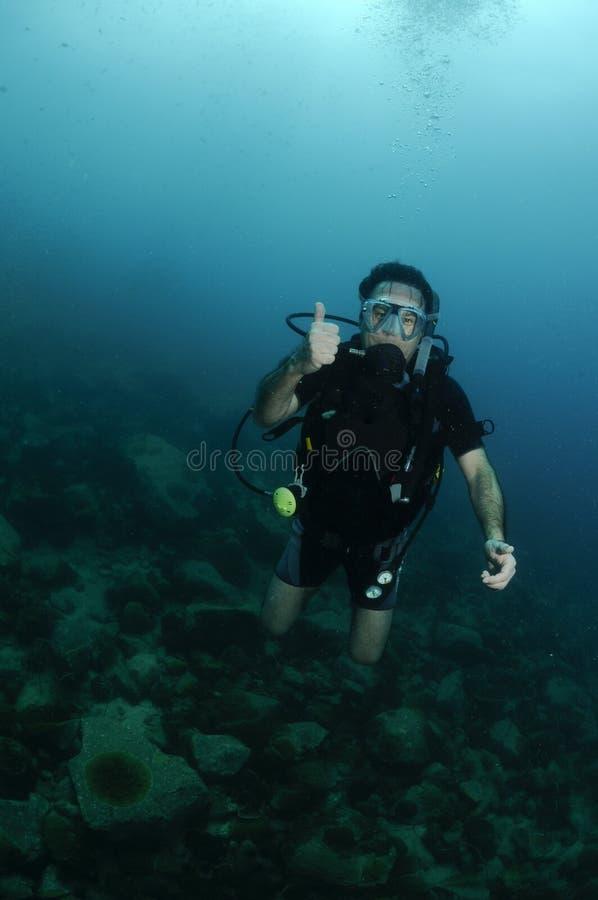 Retrato masculino novo do mergulhador de mergulhador fotos de stock royalty free