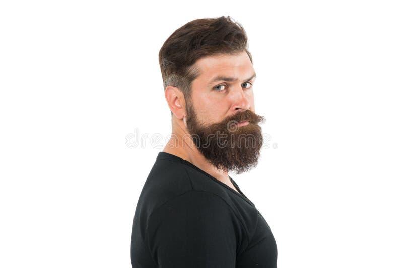 Retrato masculino Você vai ficar despida enquanto espera que a barba cresça Tenha paciência para manter a barba intocada Hipster imagens de stock royalty free