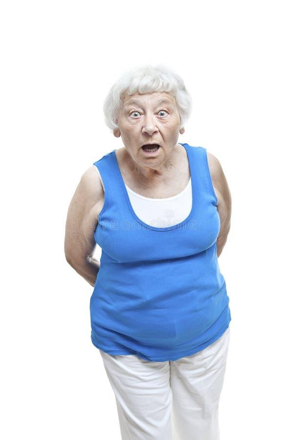 Retrato mayor de la mujer de la incredulidad fotografía de archivo libre de regalías