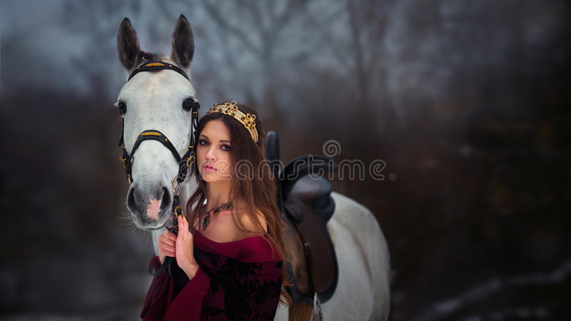 Retrato medieval da rainha foto de stock royalty free