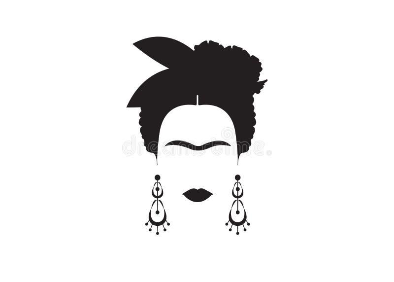 Retrato minimalista de Frida Kahlo com brincos e flores ilustração royalty free