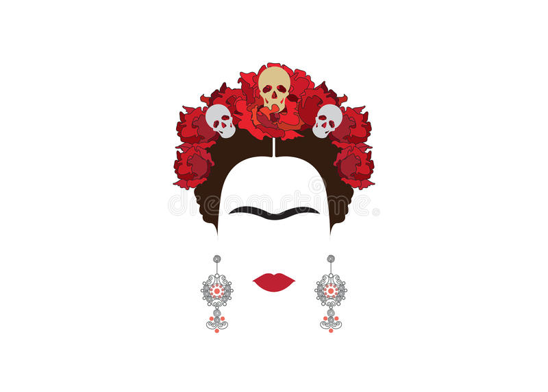 Retrato minimalista de Frida Kahlo com brincos e rosas ilustração stock