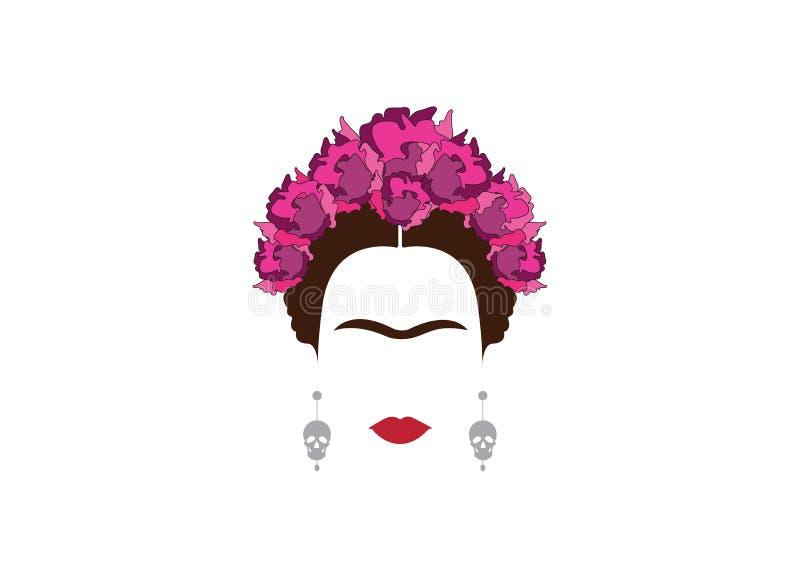 Retrato minimalista de Frida Kahlo com crânios e flores dos brincos ilustração stock