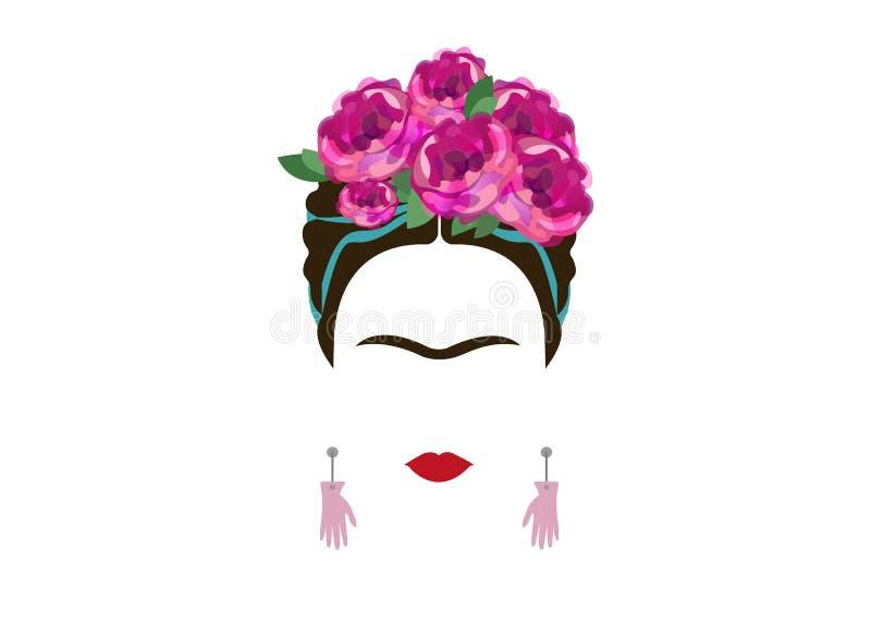 Retrato minimalista de Frida Kahlo com mãos dos brincos ilustração do vetor