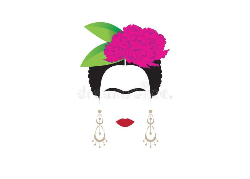 Retrato minimalista de Frida Kahlo con los pendientes y las flores ilustración del vector
