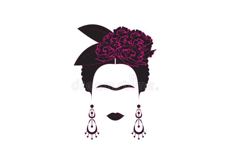 Retrato minimalista de Frida Kahlo con los pendientes y las flores stock de ilustración