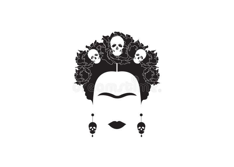 Retrato minimalista de Frida Kahlo con los pendientes y las rosas libre illustration