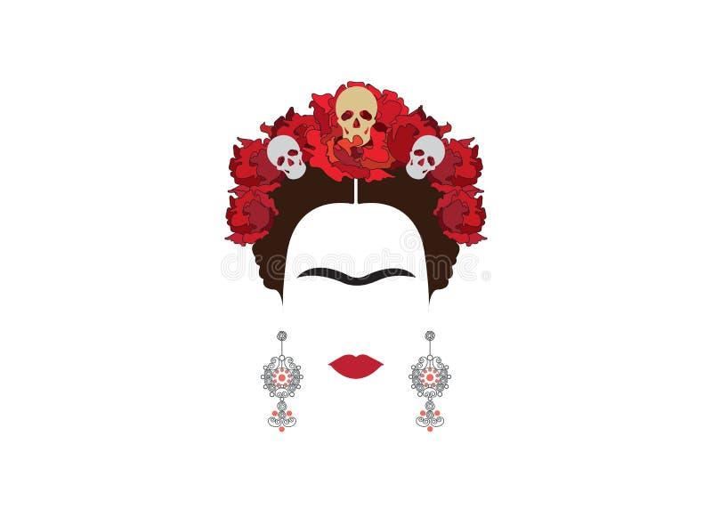 Retrato minimalista de Frida Kahlo con los pendientes y las rosas stock de ilustración